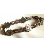 """Vintage Sterling Silver 925 Celestial Sun Face link  Bracelet 7.5"""" - $67.32"""