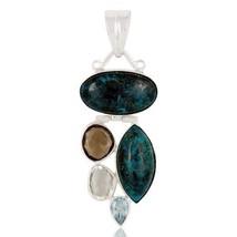 Blue Topaz Chrysocola Amethyst Smoky Topaz 925 Sterling Silver Pendant J... - $41.58