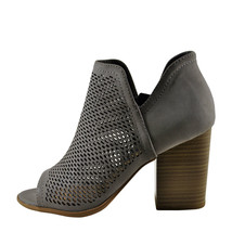 Soda Caster Light Grey Women's Open Toe Perforated Stacked Bootie  - $32.95