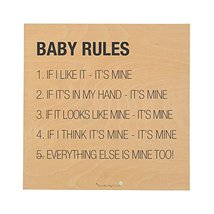 Square Wood Baby Rules Wall Decor - $11.25