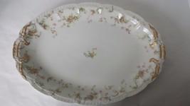 """Haviland Limoges Serving Platter 16"""" Scalloped Gold Trim Pink Flowers - $122.26"""