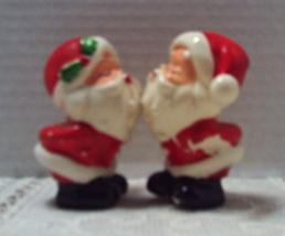 Vintage Kissing SANTA'S Salt & Pepper Shaker Christmas Decor Humor/Novelty - $10.50