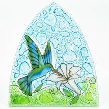 Fused Art Glass Hummingbird w Flower Nightlight Night Light Handmade in Ecuador image 2