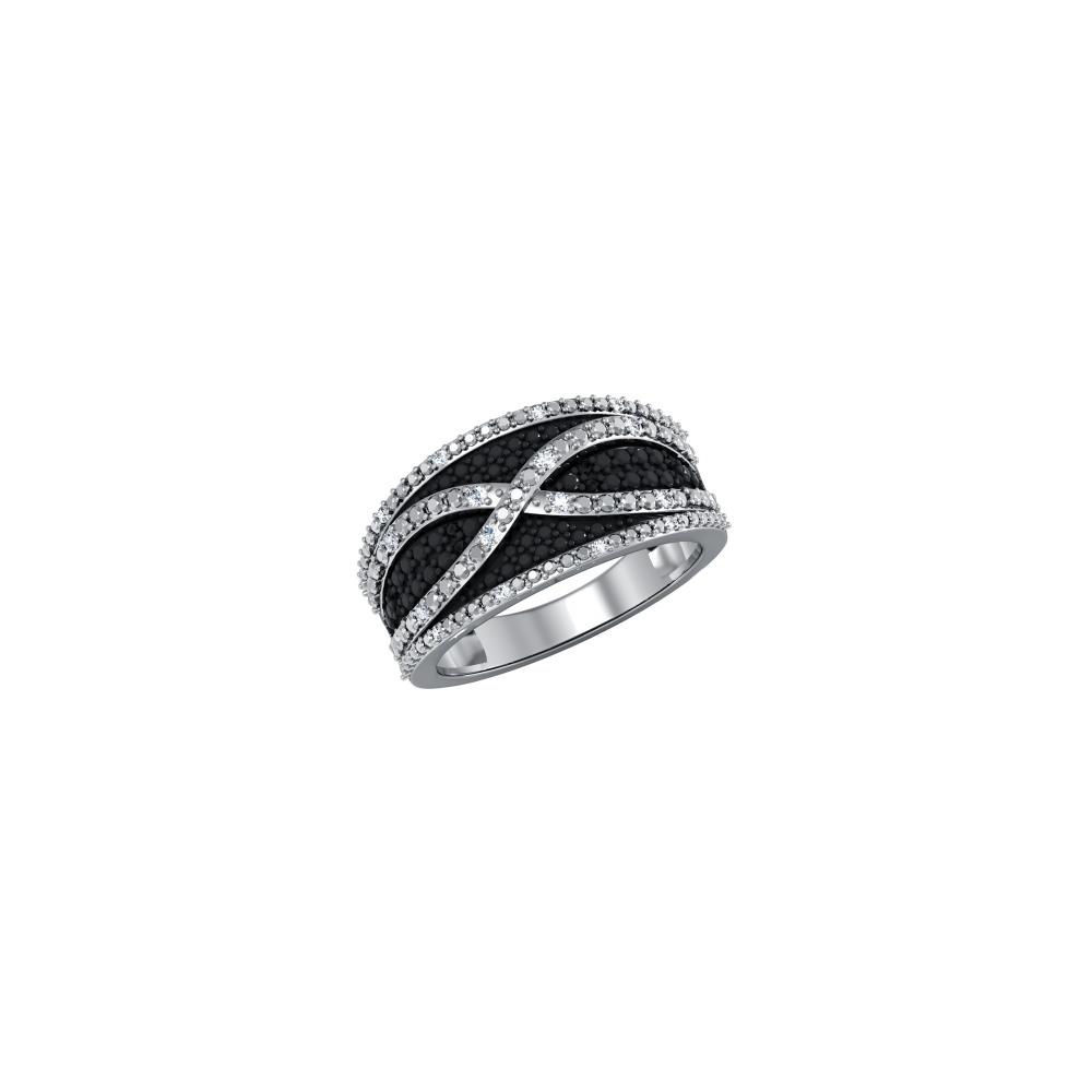 Primary image for Stunning Womens Rhodium Over Sterling Silver 0.1ctw Diamond Ring - Size 7