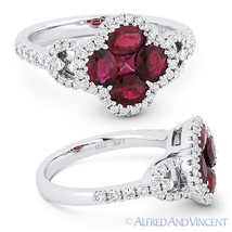 1.73ct Oval & Princess Ruby & Diamond Pave 18k White Gold Right-Hand Flo... - £1,779.59 GBP