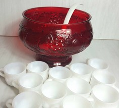 Vintage Jeannette Ruby Flash Fruit Punch Bowl and 12 White Milk Glass Cu... - $39.95