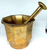"Solid Brass Mortar and Pestle Apothecary/Pharmaceutical 3.5""high by 4""ac... - $52.78"