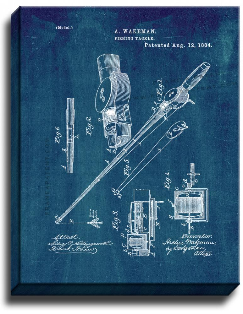 Primary image for Fishing Tackle Patent Print Midnight Blue on Canvas