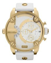 Diesel DZ7273 little daddy white gold dial white leather strap unisex watch - $246.90