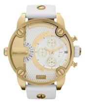 Diesel DZ7273 little daddy white gold dial white leather strap unisex watch - $220.92 CAD