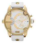 Diesel DZ7273 little daddy white gold dial white leather strap unisex watch - $4.684,74 MXN