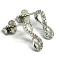 Drop Earrings White Gold 750 18k,Infinity Symbol 1.3 cm, Zircon Cubic image 2