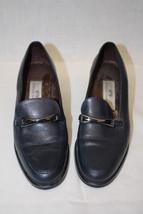 "ETIENNE AIGNER ""Schuyler"" Navy Blue Leather Horsebit Loafer Heels, Woman... - $28.00"