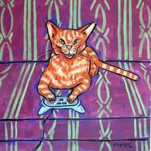 video game orange ginger tabby cat print on ceramic art TILE coaster JSC... - $14.99