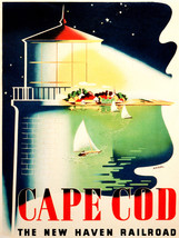 Quality POSTER.Cape Cod New Haven Railroad.Lighthouse.Interior Design ar... - $9.90+