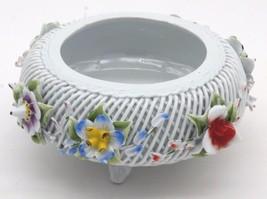"""Vintage Porfin Cluj Napoca Reticulated Porcelain Trinket Bowl 6 3/4""""D 3""""H - $35.99"""