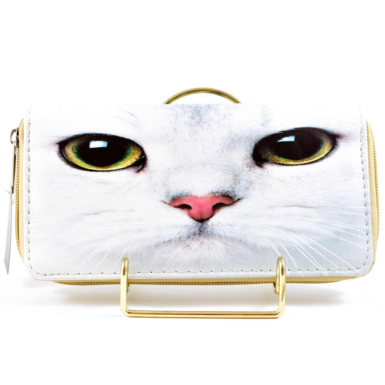 Bijorca White Cat Kitty Face Eyes Clutch Wallet New w Tags