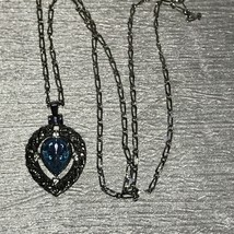 Estate Avon Signed Long Silvertone Chain w Teardrop Blue Faceted Glass P... - $12.19