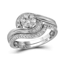 14kt Yellow Gold Round Diamond Flower Cluster Bridal Wedding Ring Set 3/8 Ctw - $750.00