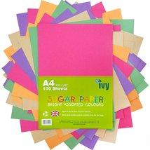 Sugar Paper A4 - 100 x Bright Coloured Sheets - 100Gsm - 21001 - Made in... - $8.79