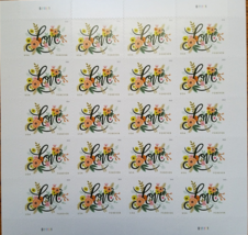 LOVE FLOURISHES  2017 (USPS) STAMP SHEET 20 FOREVER STAMPS - $15.95