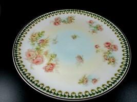 Vintage Haviland Limoges China Hand Painted Flowers Green Trim Dinner Plate  - $14.85