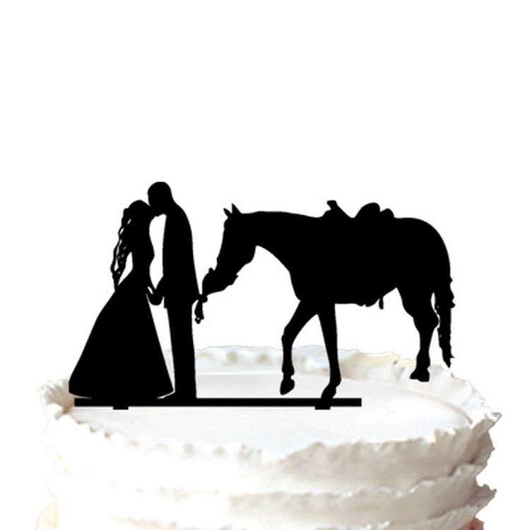 Prince charming And Princess Kissing Silhouette Wedding Cake Topper