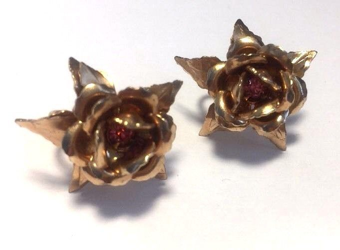 B.N. Bugbee Niles Earrings Copper Tone Rose Purple Stone Screw Back Midcentury