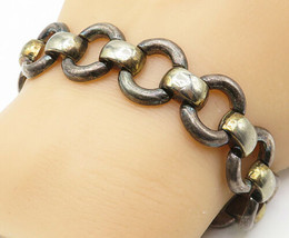 925 Sterling Silver - Vintage Two Tone Round Link Chain Bracelet - B4520 - $73.96