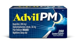200 Coated Caplets ADVIL PM Pain Reliever(NSAID) Nighttime Sleep Aid 200 mg - $23.51