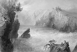 CANADA Split Rock Fall on St. John River - Steel Engraving Print - $14.16