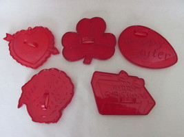 Vintage Red Plastic Cookie Cutters - Five Different Holidays, Most HRM M... - $9.99