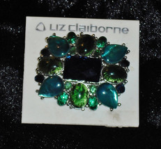 Liz Clairborne Open Back Green Cobochon Pin Brooch Faceted Blue Glass Ce... - $12.90