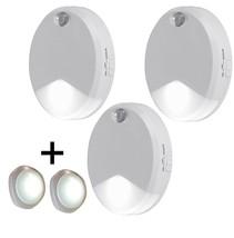 NEW 3 Wall Mount Motion Sensor Night Lights Stick Anywhere  + 2 Push LED... - $33.31