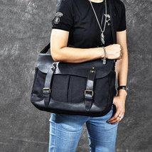 On Sale, Horse Canvas With Leather Messenger Bag, Men Shoulder Bag Satchel Bag image 6