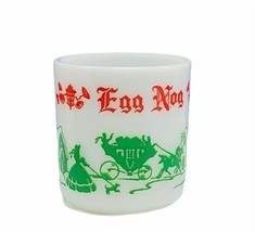 Egg Nog milk glass mug cup Hazel Atlas Christmas holiday horse carriage ... - £18.62 GBP
