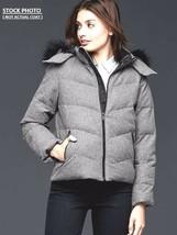 New Gap Women Faux Fur Trim Wool Puffer Coat Jacket Gray Size S - $75.13