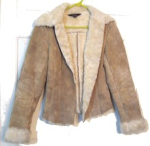 100 Beige Suede Jacket by Express with Faux Fur Lapels and Lining Size 5 6 - $71.25