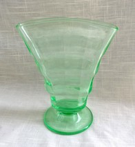 Vintage Green Vaseline Glass Fan Vase, Optic Panels, Paden City Party Li... - $29.89