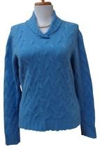 EUC TALBOTS Heather Blue 100% Thick Cashmere Collared Neckline Sweater Size M - $39.59