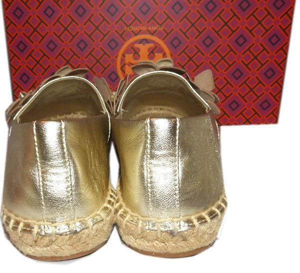 Tory Burch Blossom Gold Leather Platform Espadrilles Floral Flats Shoes 8.5