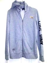 PINK Victoria Secret Gray Zip Sweatshirt Jacket Hoodie Animal Print Sequ... - $14.84