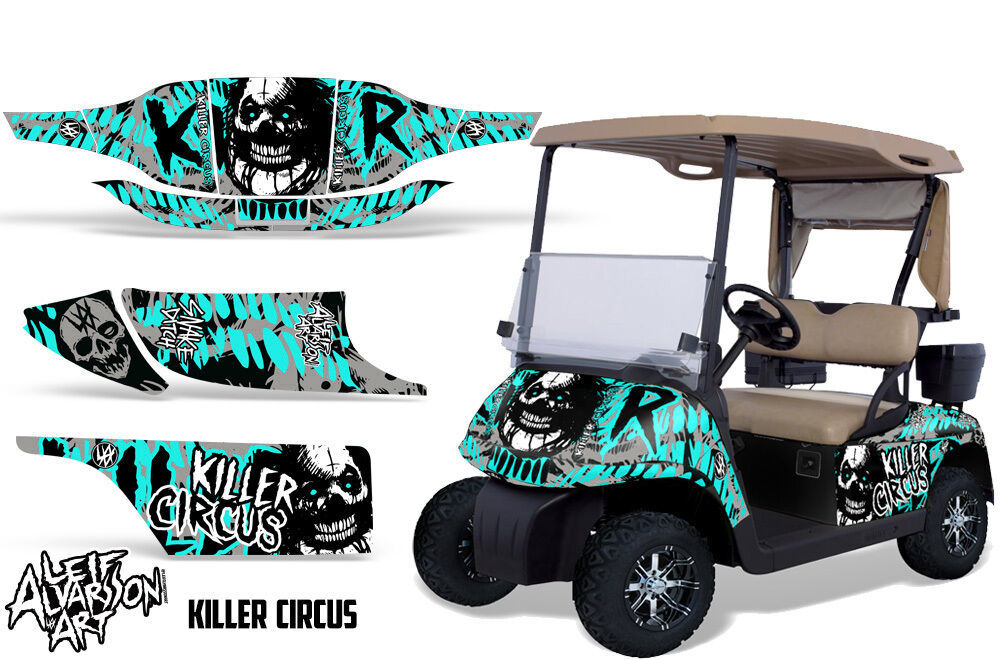 EZ GO Golf Cart Wrap Graphics Vinyl Sticker Decal Kit EZGO 1996-2010 CIRCUS MINT