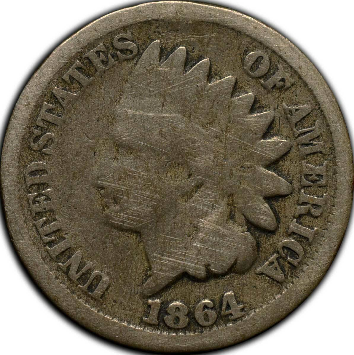 1864CN Indian Head Cent Coin Lot# A 285