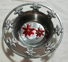 Home Accents Aluminum Christmas Ponsettia Pewter Finish CANDY DISH Snack... - $7.79