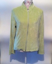 Talbots Jacket Size Large Lightweight Lime Green Full Zip Valor Casual A8 - $5.24