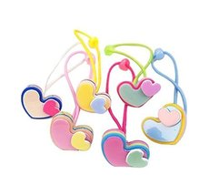 Set of 12 Colorful Design Hair Tie Bands Rubber Ropes Hair Rings, Loving Hearts