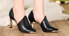 84H073 Metal texture ankle pumps, genuine leather, Size 4-8.5, black - $128.80