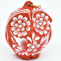 Handcrafted Ceramic White on Red Owl Holiday Christmas Ornament Made in ... - $19.79