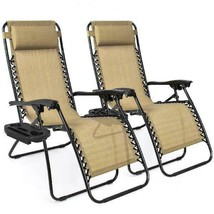Zero Gravity Chair Two Pack Steel and Mesh UV-resistant Removable Pillow... - $102.27